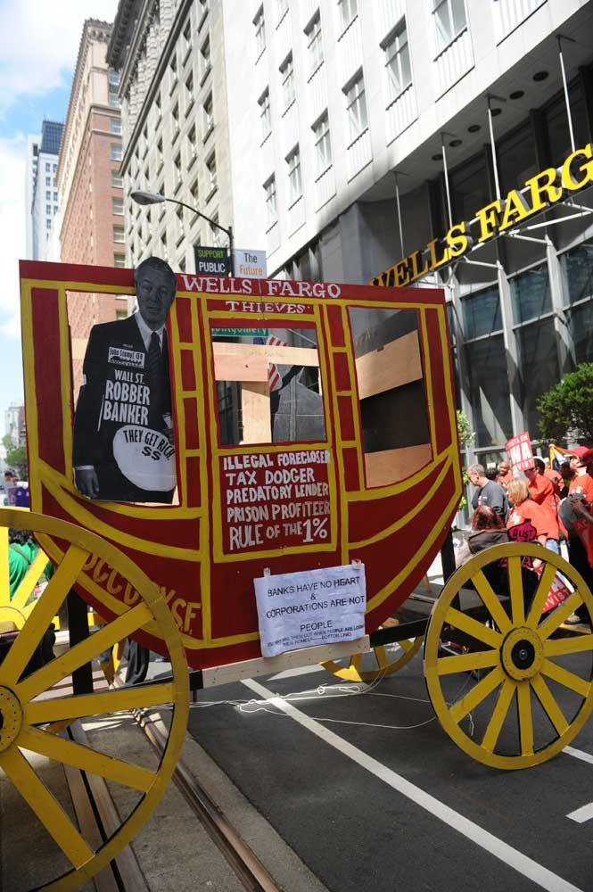 Protesters demonstrate outside Wells Fargo's annual meeting in San Francisco.