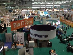 The exhibit floor of the BIO convention in Boston on Monday morning.