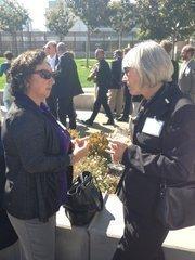 BayBio President Gail Maderis (right).