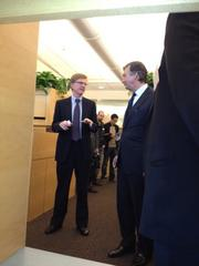 Douglas Crawford, associate director of the QB3 scientific research cooperative, talks to Canadian Ambassador Gary Doer.