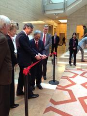 Canadian Ambassador Gary Doer and San Francisco Mayor Ed Lee cut a ceremonial ribbon opening the Canadian Technology Accelerator life sciences unit at UCSF's Mission Bay campus.