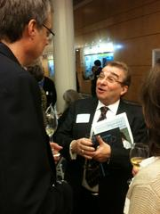 "Roberto Crea, one of the first five scientists at Genentech when he came aboard in September 1978, chats at the book launch party for ""Genentech: The Beginnings of Biotech."""