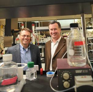 Sutro Biopharma CEO Bill Newell (right) with the company's chief scientific officer, Trevor Hallam.