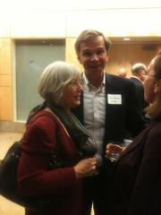 "BayBio President Gail Maderis and Fred Dorey, special counsel in the life sciences practice group of Cooley Godward Kronish LLP, at the reception of the launch of the new book, ""Genentech: The Beginnings of Biotech."""