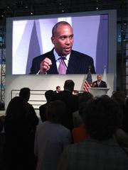 Massachusetts Gov. Deval Patrick makes a point Tuesday about the state's biotech strategy from the stage of the Massachusetts pavilion at the BIO convention.