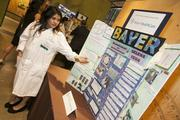 Selena Vega, a senior at Berkeley High School and a 2012 summer intern at Bayer HealthCare's U.S. Innovation Center in San Francisco's Mission Bay, talks about her project.(Eric Slomanson / Slomo Photos)