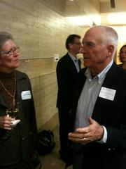 "Jack Wadsworth, former head of Morgan Stanley's Asian operations, chats at Thursday's book launch reception for ""Genentech: The Beginnings of Biotech."""