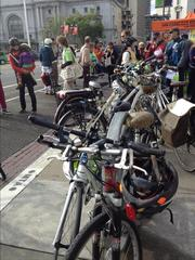 At the City Hall bicycle station for Bike to Work Day.