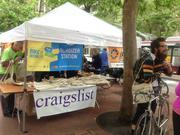 Various companies, like Craigslist, sponsored stations for Bike to Work Day.