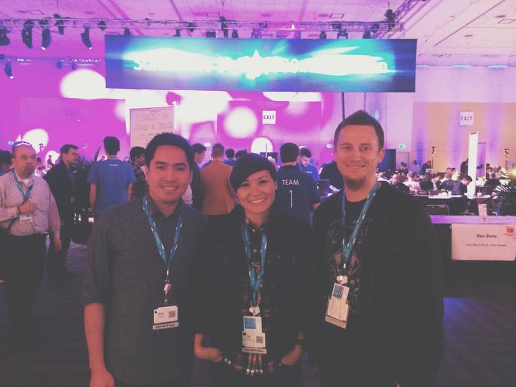 Victor Oliveros, Cat Perez and Ian Fisher (left to right) were elevated from second place finishers to co-winners of the $1 million hackathon competition at Salesforce's Dreamforce 2013 conference.
