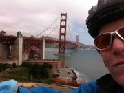 San Francisco Business Times reporter Lindsay Riddell made the ride across the Golden Gate Bridge to work on Bike to Work Day.