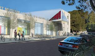 An artist's rendering of what the new BAM/PFA complex along Center Street will look like. The west entrance to UC Berkeley's campus is in the trees at right.