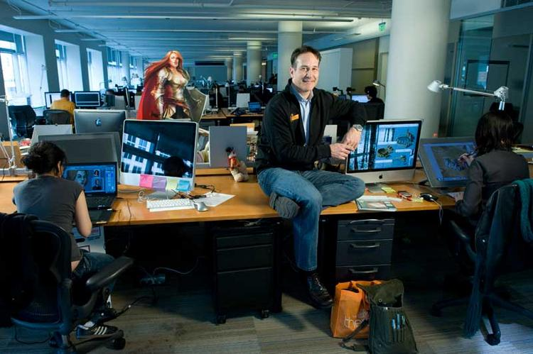 Kabam chief operating officer, Chris Carvalho, in the company's 790 Folsom St.  offices. Kabam is moving into the old Twitter space.