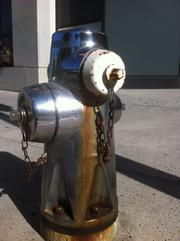 A chrome fire hydrant on the corner beside Center 21.