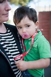Kate Torgersen, communications manager for Clif Bar, picks up her son, Jackson Morantes, at the end of the day.