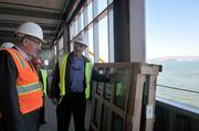 Hobstetter and von Blohn point out the fritted glass windows, which will reduce the building's solar gain and deter birds from entering the no-fly zone.