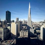 The Transamerica Tower as seen among the San Francisco skyline.