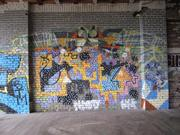 Many of the building's walls are covered in graffiti, some artistic, some not.