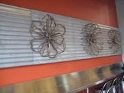 These flower decorations were made with scrap metal.
