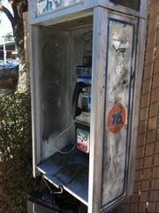 A relic of the past -- a 76 branded pay phone on the site.
