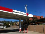 The closed gas station at College and Claremont, a busy intersection that opponents of Safeway's project say will only get busier if the store gets bigger. The Red Cross blood donation center is visible in the background, on the site where College Preparatory School used to be.