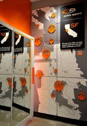 The dressing room in the C9 store has a map of San Francisco and the different outdoor activities people can do.