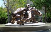 """The building features an outdoor sculpture titled """"All Together Now,"""" by New York artist Fred Gelb."""