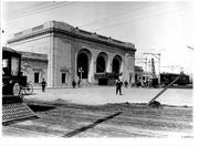 This photo from 1913 shows the train station one year after it was built.