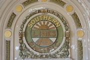 The interior of the station features this sign for the Southern Pacific Lines, former operator of the train station.