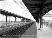 The train station had elevated tracks pictured here in 1925.