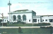 The exterior of the train station was featured on a postcard.