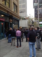 Bars overflowed, leaving fans to watch the Giants play the Reds from streets and sidewalks in downtown San Francisco on Oct. 11.