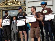 Meraki, David Baker and Partner Architects, Method Products and Timbuk2 were honored by the San Francisco Bicycle Coalition in front of City Hall as the top bicycle-friendly businesses as part of Bike to Work Day.