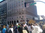 Protesters gather at 14th and Broadway in Oakland
