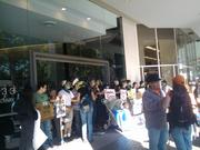 Protesters block the entrance of 1333 Broadway in Oakland.