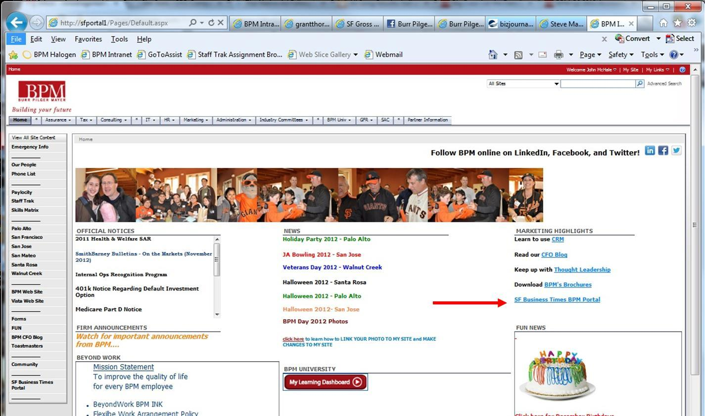 Example of a portal web page