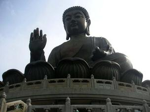 An enormous Buddha statue on Lantau Island in Hong Kong, built during the 1990s.