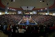 The university's Wednesday night service is sometimes held in the 10,000 seat basketball arena.