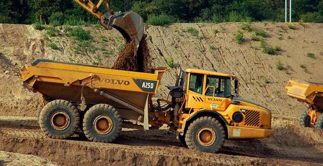 Looking for a big Volvo dump truck? Bidding for one like this starts at $53,000. (Excavator sold separately)