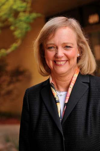 Hewlett-Packard's share price fell after a talk by CEO Meg Whitman on Wednesday.