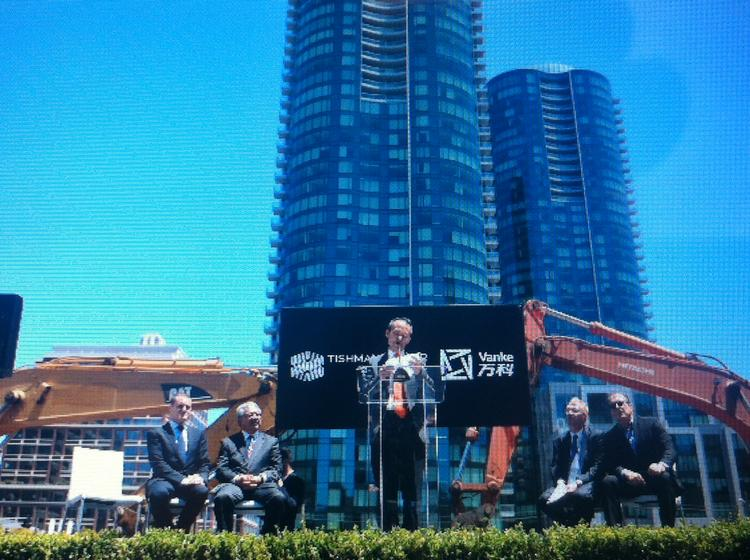 Wang Shi of China Vanke speaking at the groundbreaking for 201 Folsom St., a partnership with Tishman Speyer.