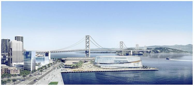 An artist's rendering of the Warriors' proposed arena on Piers 30-32.