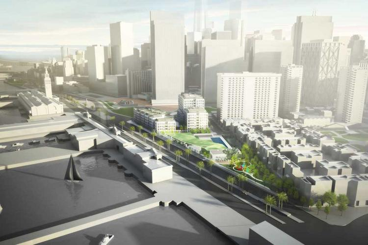 Current SOM projects under way or in planning in San Francisco include the mixed-use 8 Washington St.
