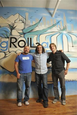 AdRoll CEO Aaron Bell, with Valentino Volonghi, left and Peter Krivkovich, right.