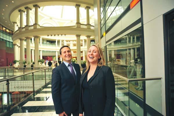 Creating excitement: Westfield's Antony Ritch and Heather Almond inside San Francisco Center, now turning 5.