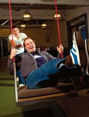 """People need to interact,"" says Box.net finance director Greg Strickland, getting a swing from CFO Dylan Smith. The company was ranked No. 2 among companies with 101-500 employees in the Bay Area Best Places to Work by the Silicon Valley/San Jose Business Journal and San Francisco Business Times. The full story can be read on the papers' websites."
