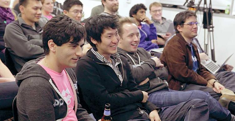 "Dropbox employees take part in one of the company's ""Hack Week"" events."