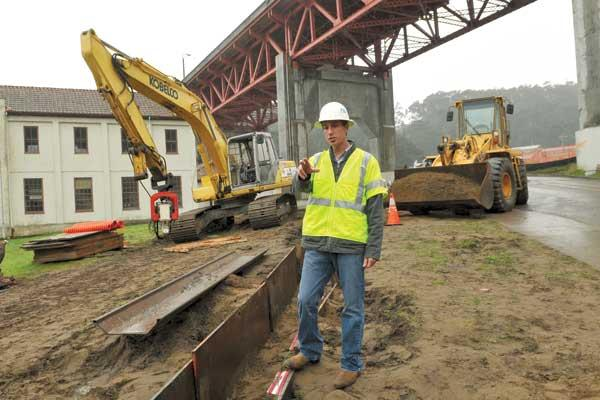 Basil Falcone said his environmental health and safety consulting firm, Environova, found stability through stimulus-funded work on Doyle Drive in San Francisco.