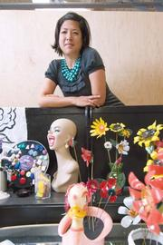 Livia Gerring of UT Gallery creates whimsical art at the 25th Street Collective.