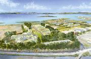 A rendering shows the new lab campus on the edge of San Francisco Bay.
